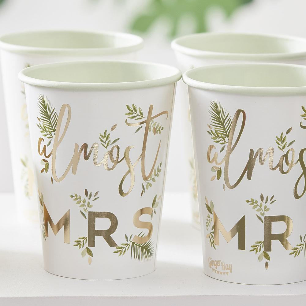 Botanical Gold Foiled 'Almost Mrs' Paper Cups (x8)