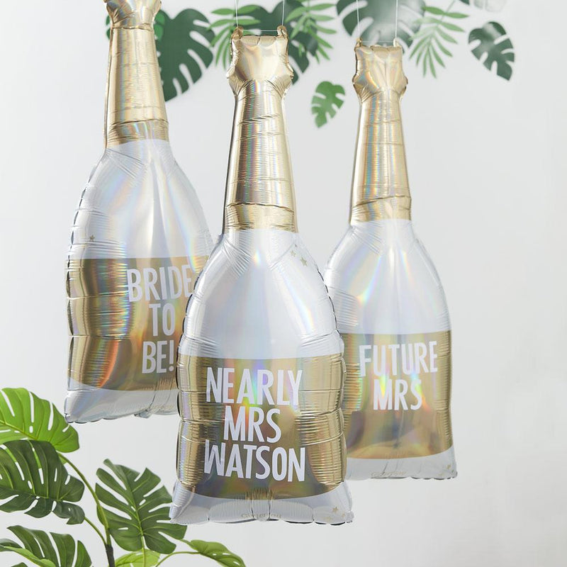 Botanical Gold Foiled Customisable Champagne Bottle Foil Balloon