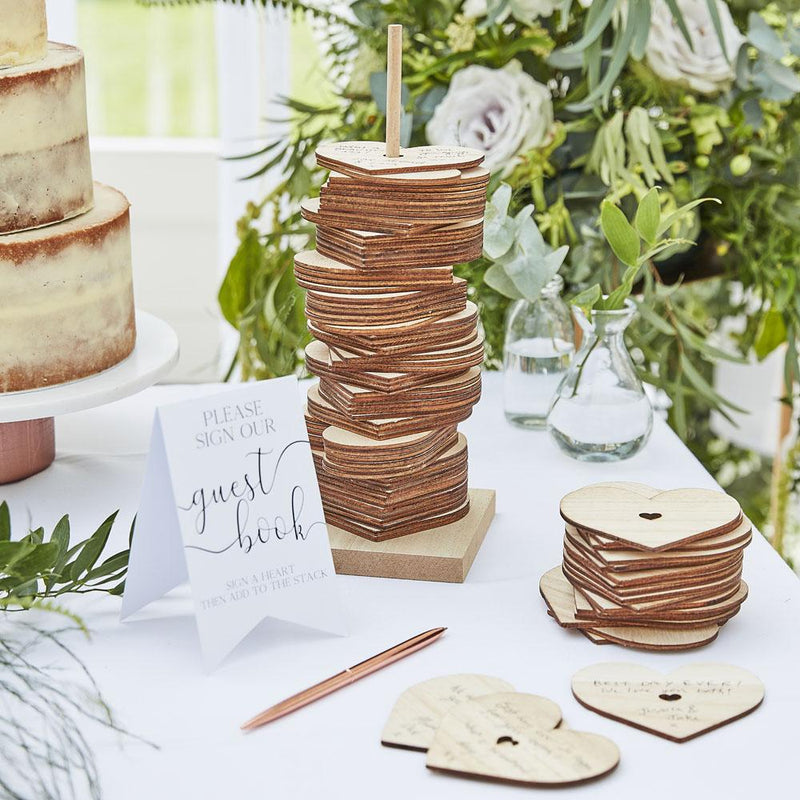 Botanical Wooden Stacking Heart Guest Book