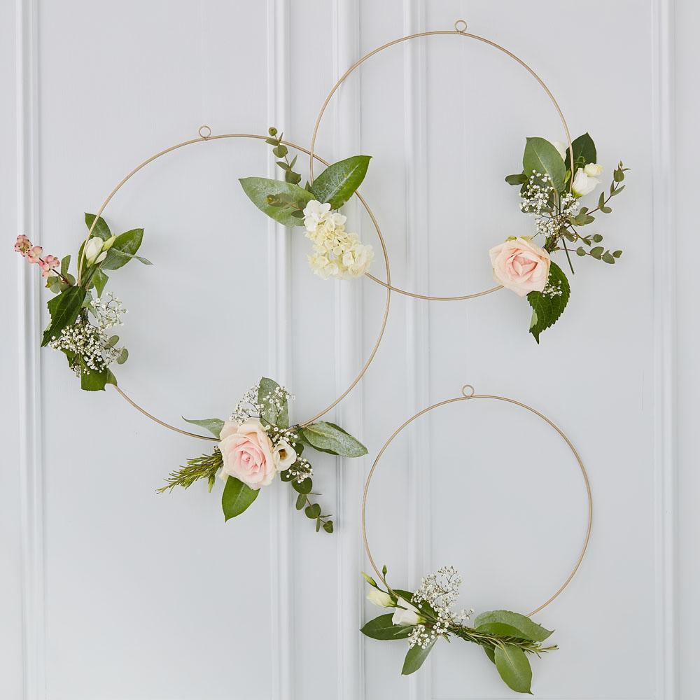 Botanical Floral Hoops (x3)