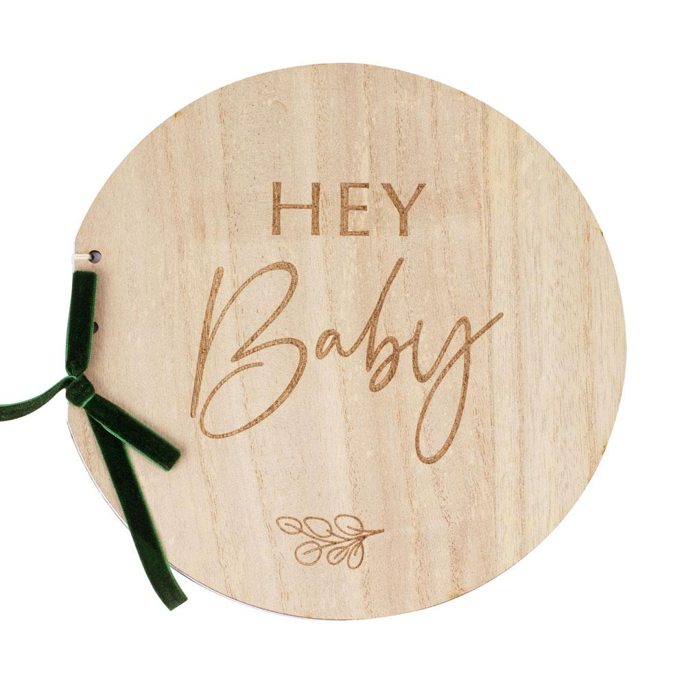 Botanical Wooden Hey Baby Guest Book
