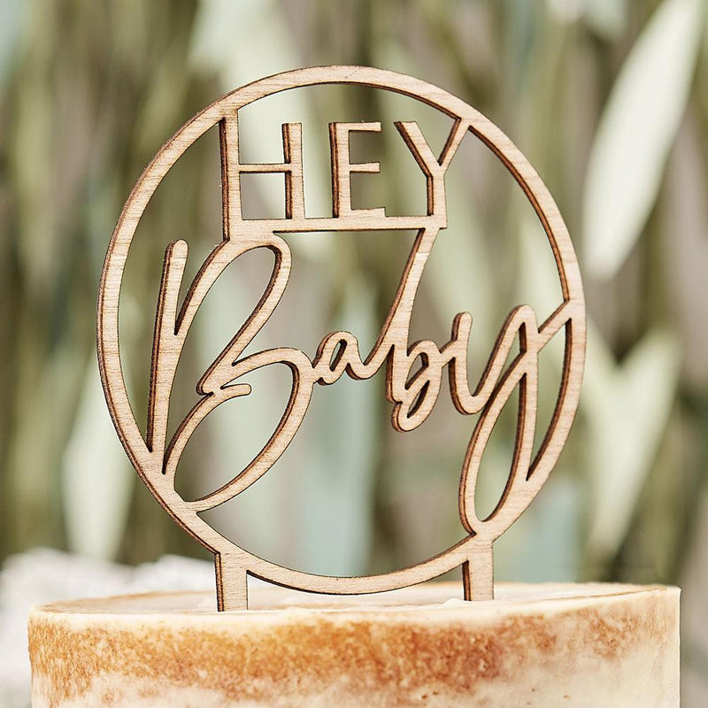 Botanical Wooden Hey Baby Cake Topper