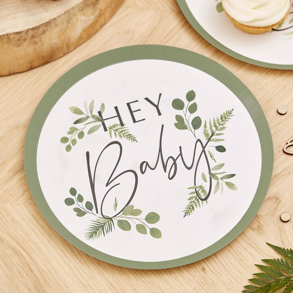 Botanical Hey Baby Paper Plates (x8)