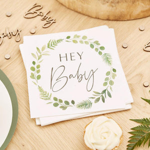 Botanical Hey Baby Napkins (x16)