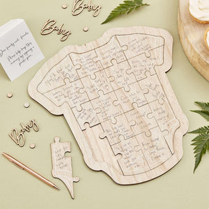 Botanical Wooden Baby Grow Guest Book