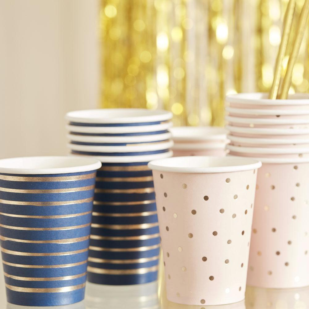 Gold Foiled Pink And Navy Mixed Cups (x8)