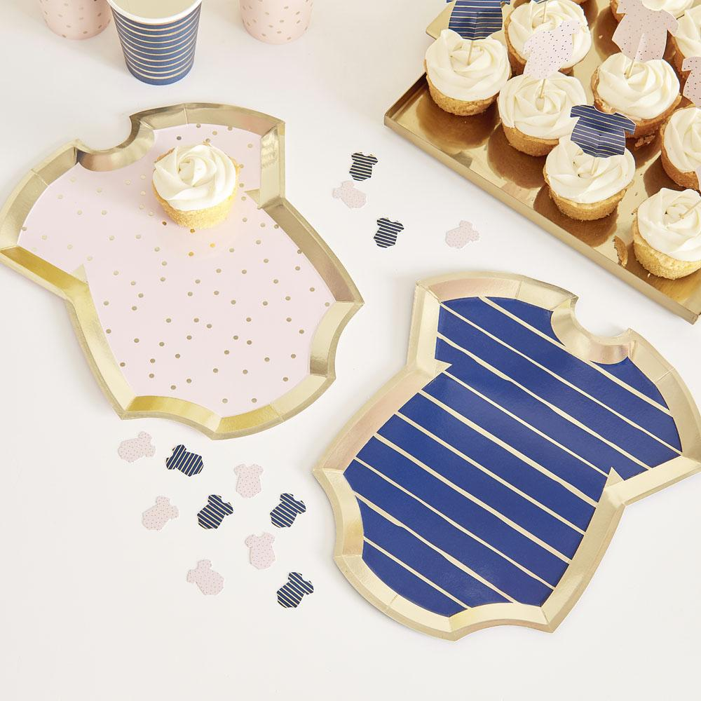 Gold Foiled Pink And Navy Baby Grow Shaped Plates (x8)