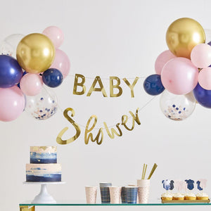 Gender Reveal Foiled 'Baby Shower' Bunting