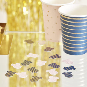 Pink & Navy Gold Foiled Baby Grow Table Confetti