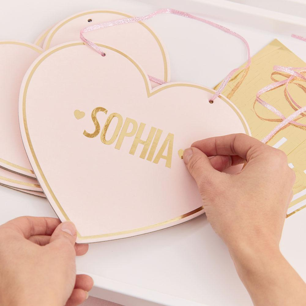 Pamper Party Customisable Pink Heart Name Signs (x4)
