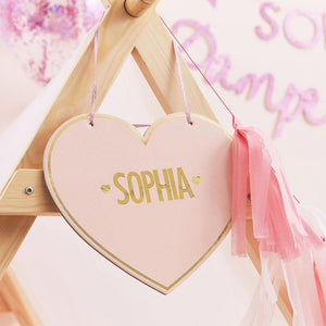 Pamper Party Customisable Pink Heart Name Sign