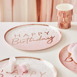 Mix It Up Happy Birthday Rose Gold Plates