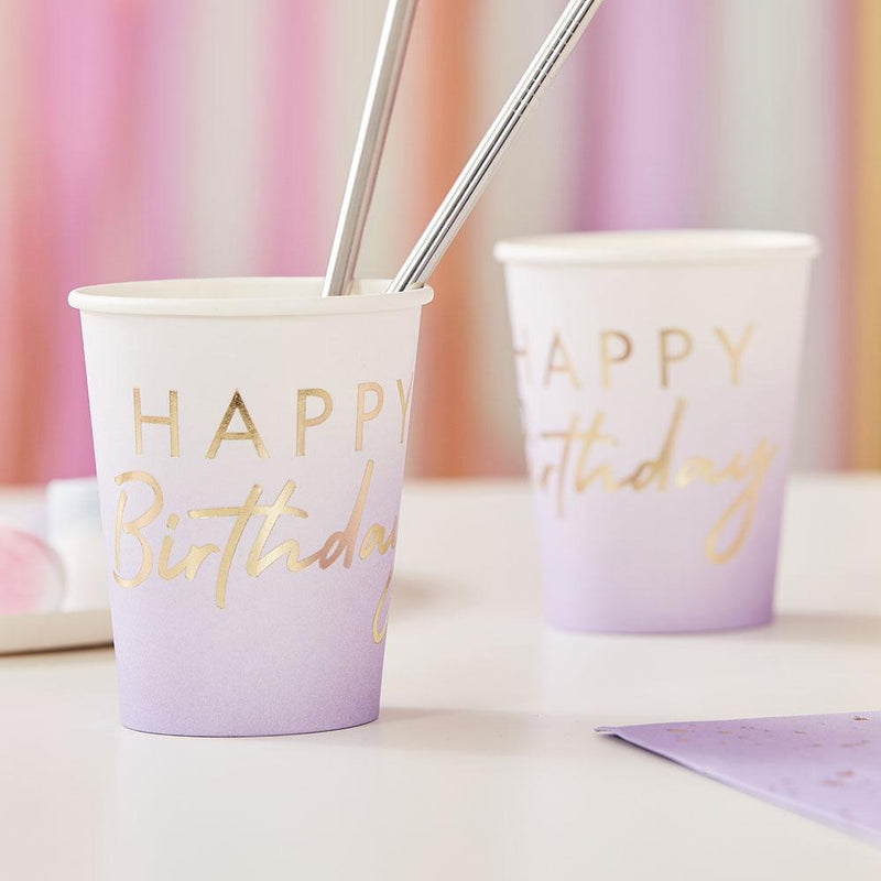 Mix It Up Lilac Ombre Happy Birthday Cups