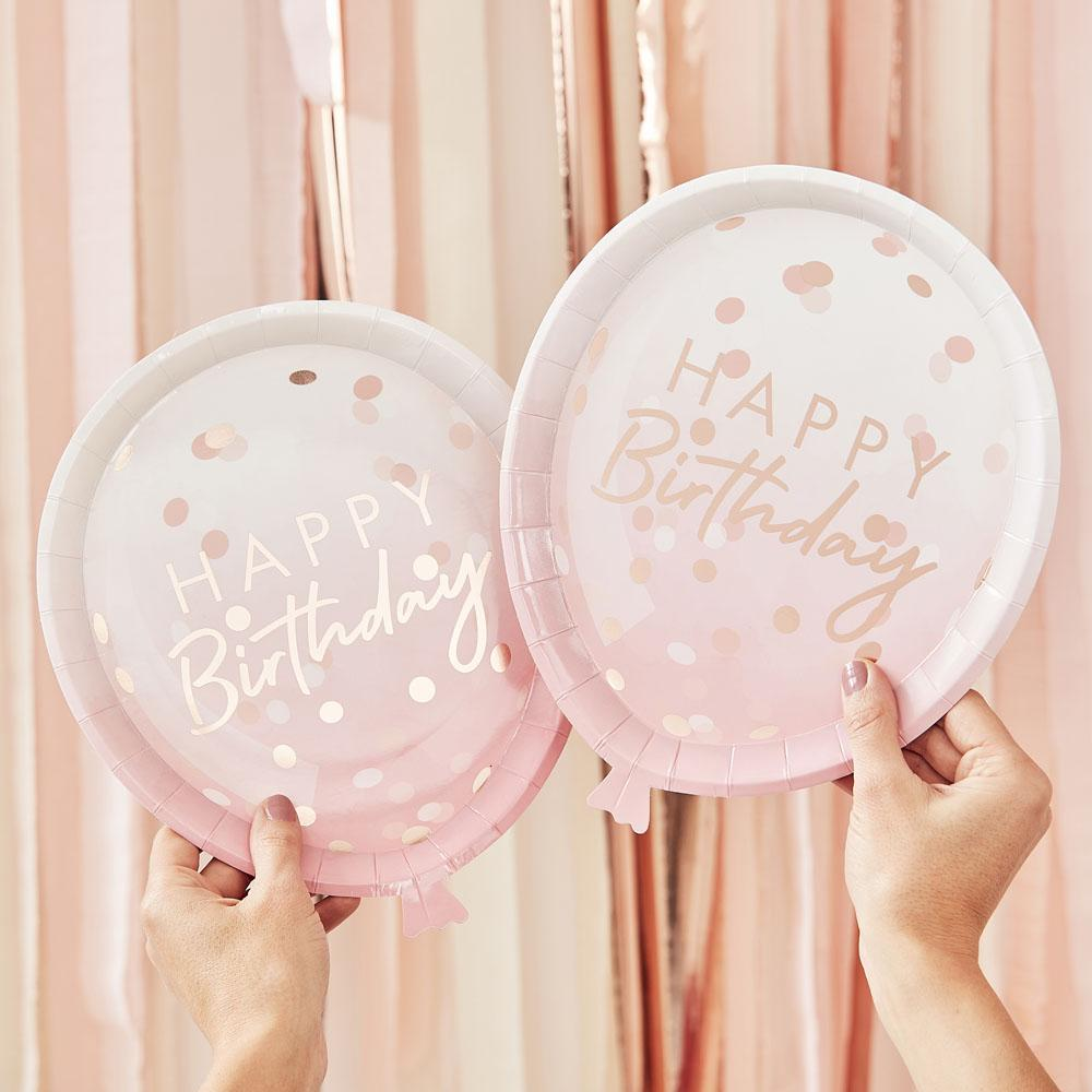 Mix It Up Rose Gold Foiled Confetti Balloon Shaped Plates