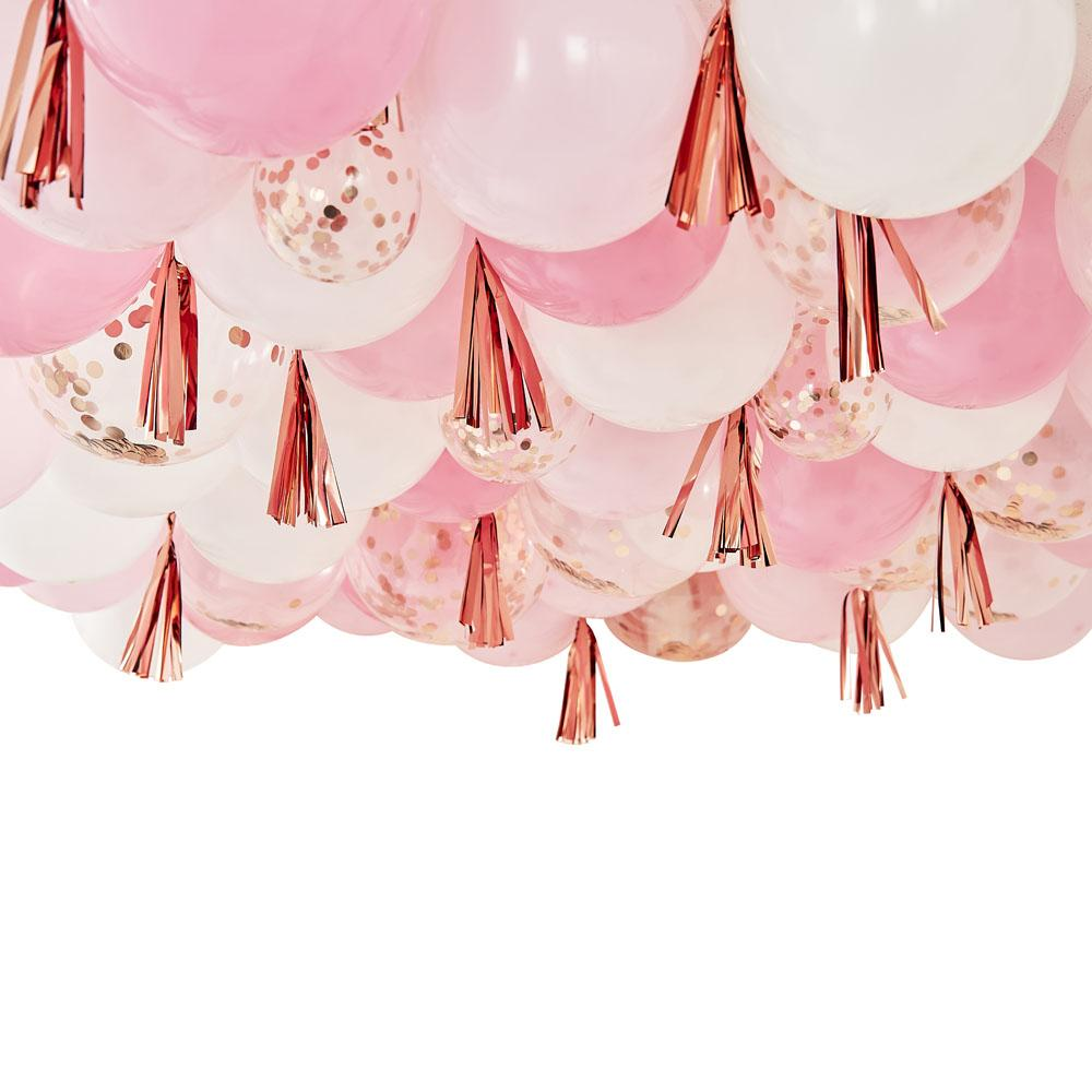 Mix It Up Blush, White And Rose Gold Ceiling Balloons With Tassels