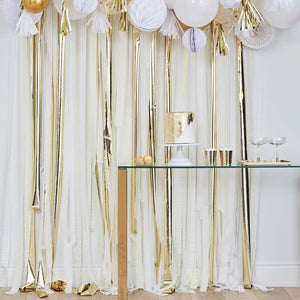 Mix It Up Gold Metallic Streamer Backdrop