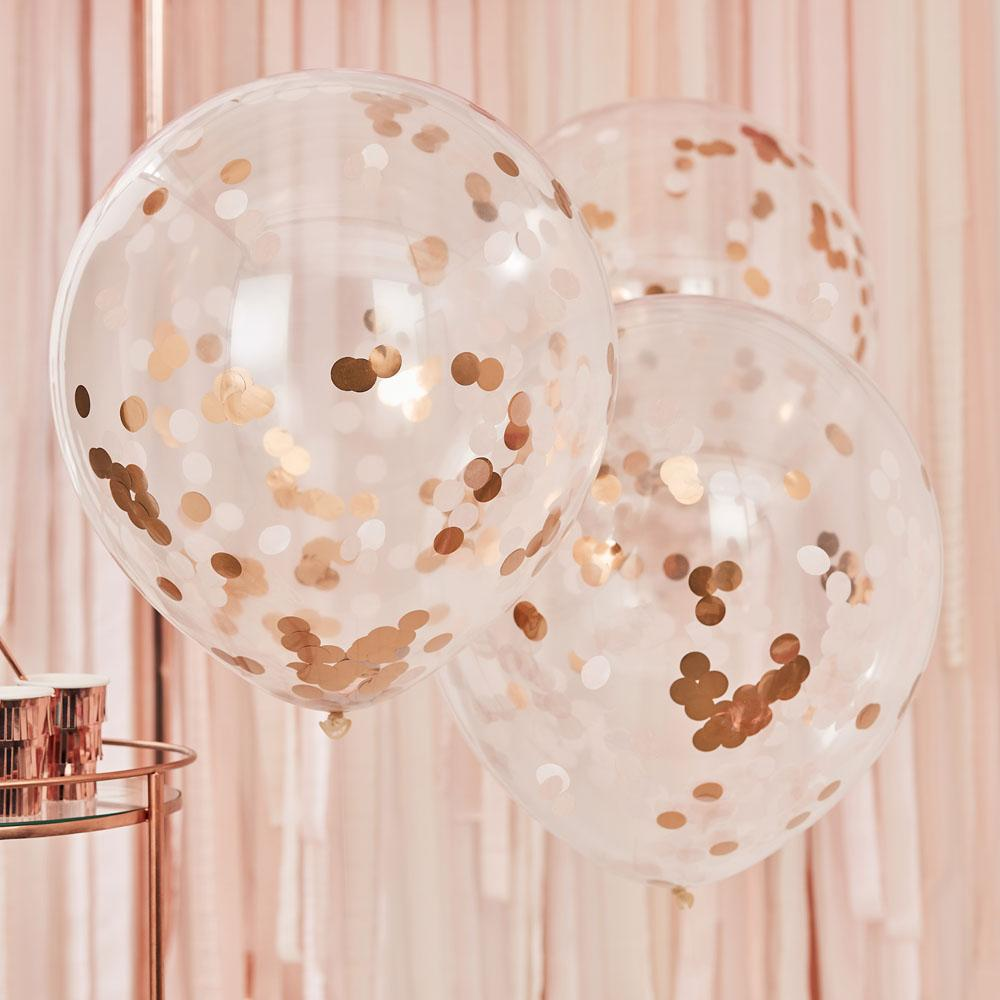 Mix It Up Giant Rose Gold And Blush Confetti Balloons (x3)