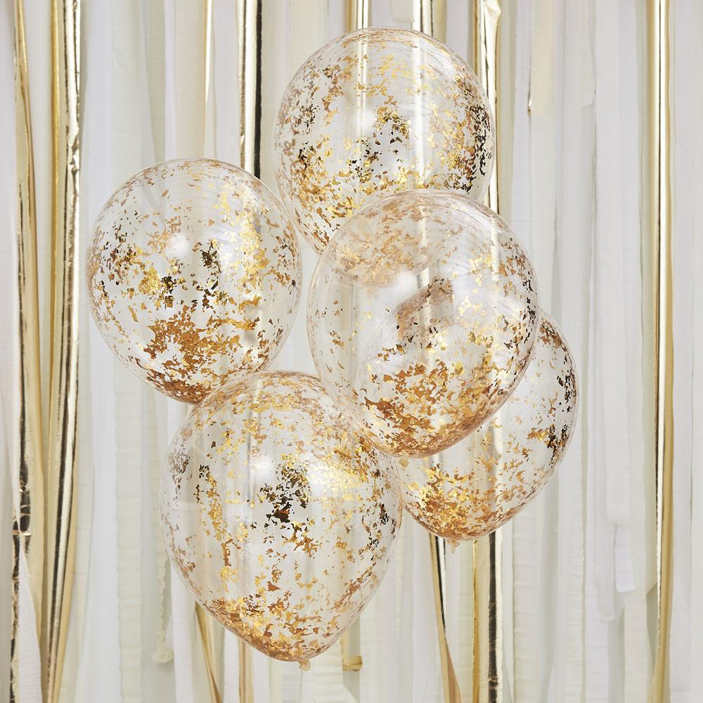 Mix It Up Gold Foil Confetti Balloons (x5)