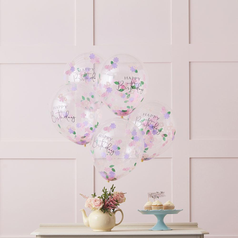 Lets Partea Happy Birthday Confetti Balloons (x5)