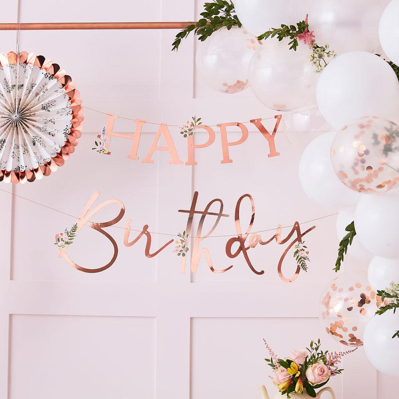 Lets Partea Rose Gold Happy Birthday Bunting