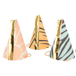 Safari Animal Print Party Hats (x8)