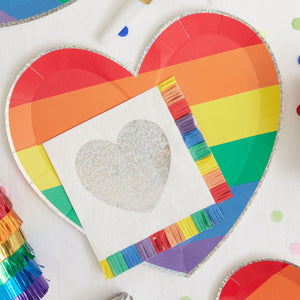 Rainbow Heart Large Plates (x8)