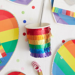 Rainbow Fringe Party Cups (x8)