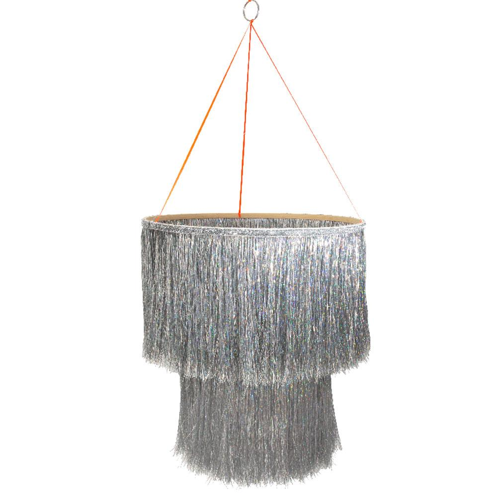 Silver Tinsel Chandelier