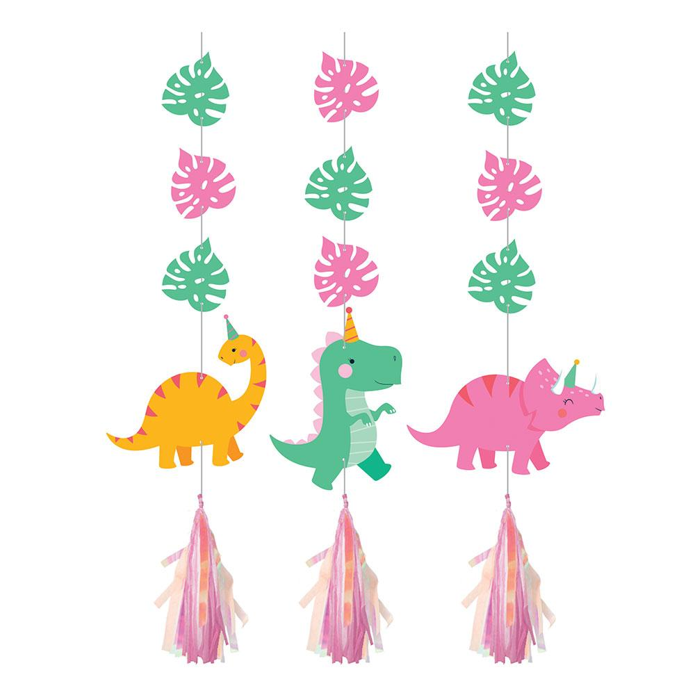 Dino Party Hanging Cutouts with Tassels