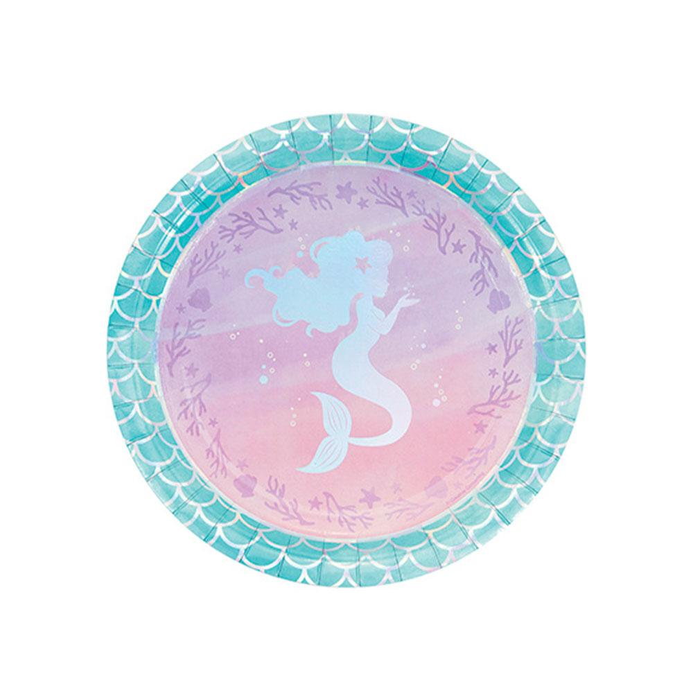 Mermaid Shine Iridescent Foil Paper Dinner Plates (x8)
