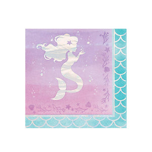 Mermaid Shine Iridescent Foil Stamped Lunch Napkins (x16)