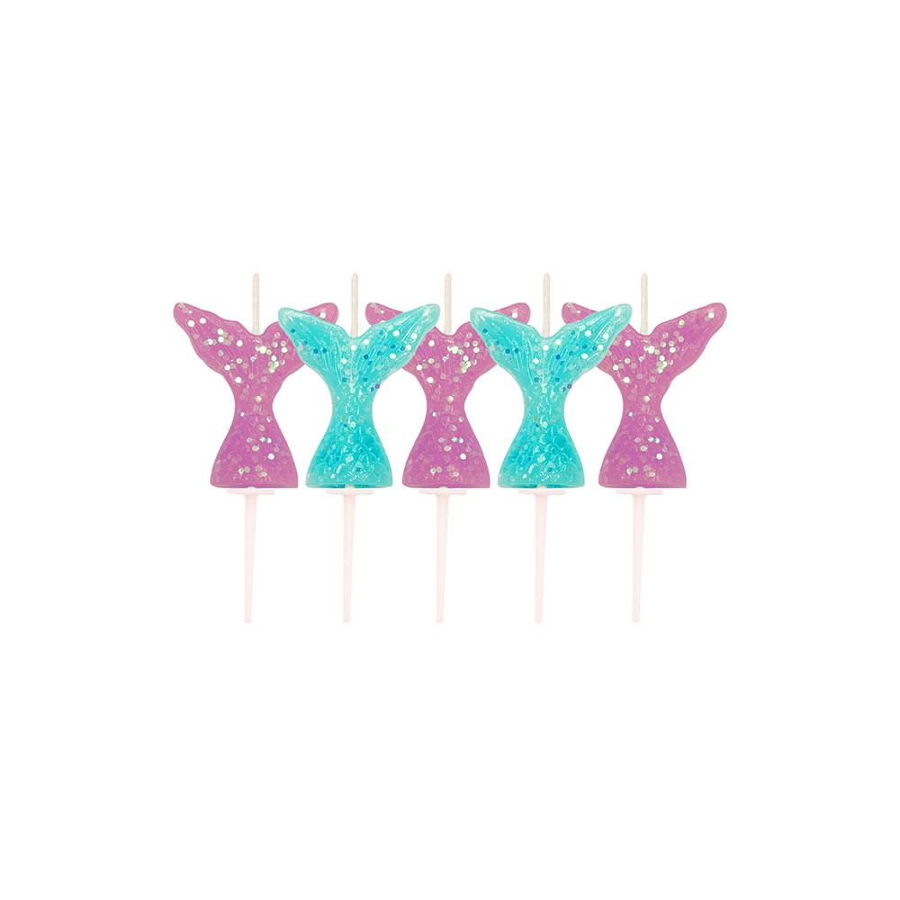 Mermaid Shine Glitter Tail Pick Candles (x5)