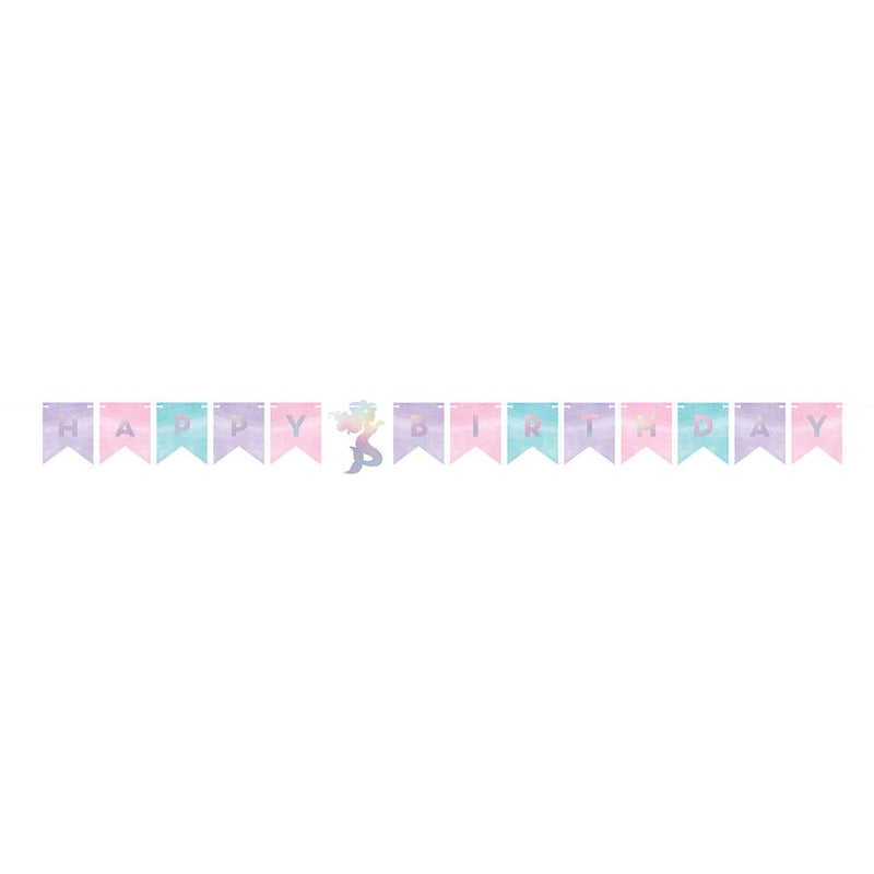 Mermaid Shine Iridescent 'Happy Birthday' Banner With Twine