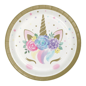 Unicorn Baby Paper Lunch Plates (x8)