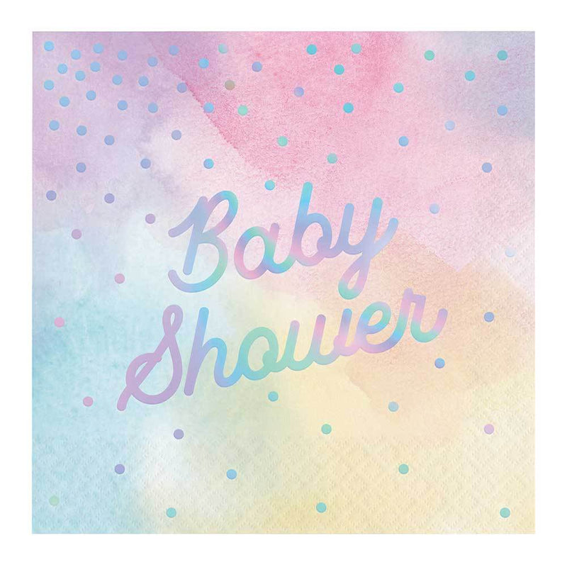 Iridescent Party - 'Baby Shower' Napkins (x16)