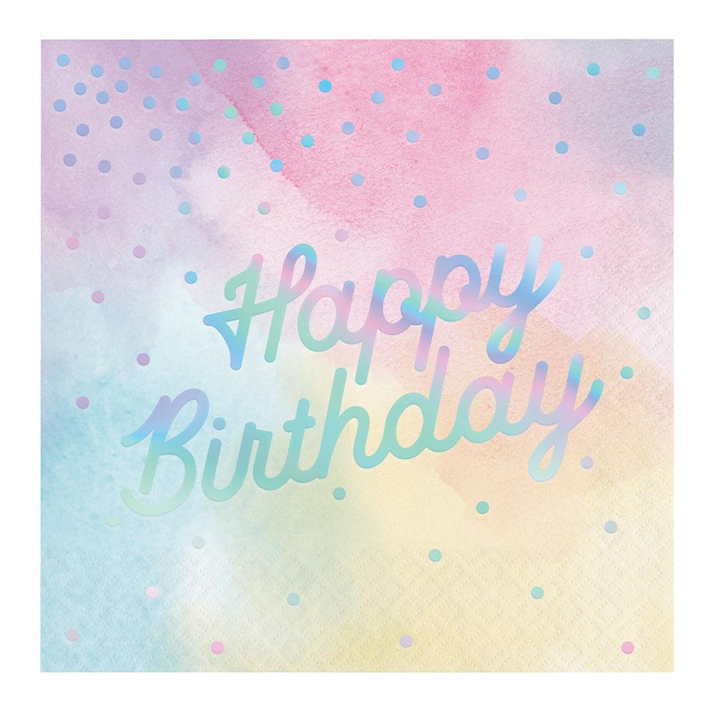 Iridescent Party - 'Happy Birthday' Napkins (x16)