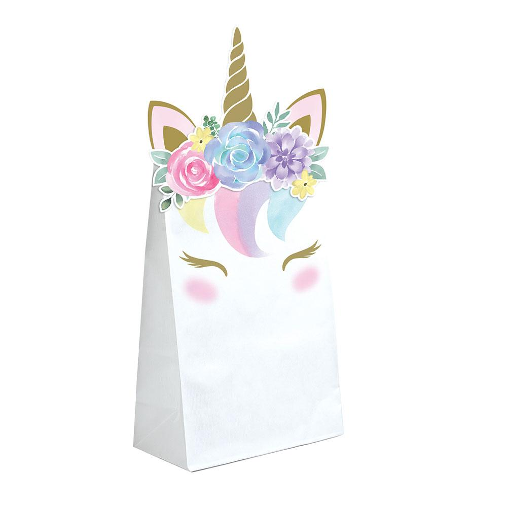 Unicorn Baby Shaped Paper Treat Bags with Attachments (x8)
