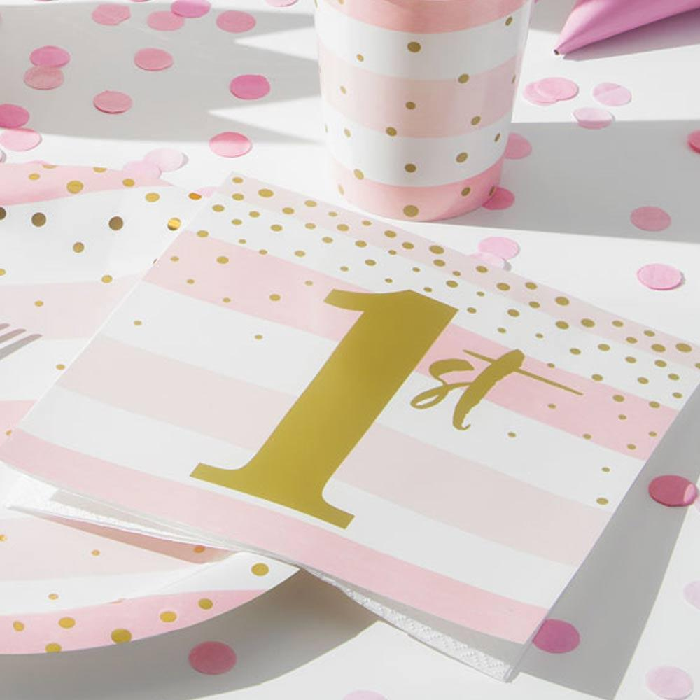Pink & Gold Celebration 1st Birthday Luncheon Napkins (x16)
