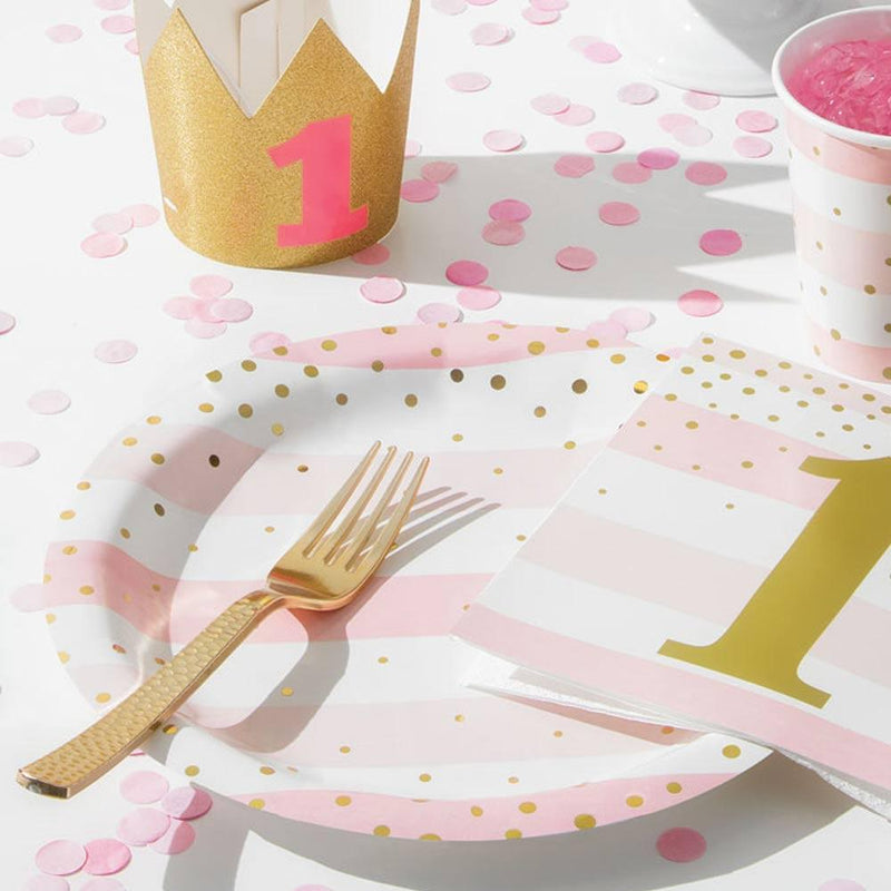 Pink & Gold Celebration Large Plates (x8)