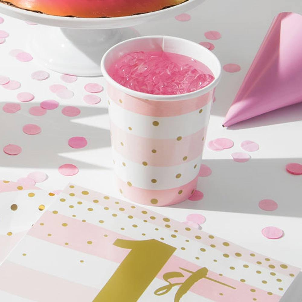 Pink & Gold Celebration Paper Cups (x8)