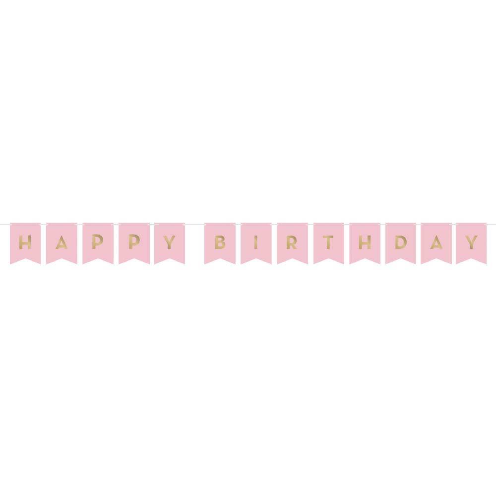 Pink & Gold Celebration Happy Birthday Banner