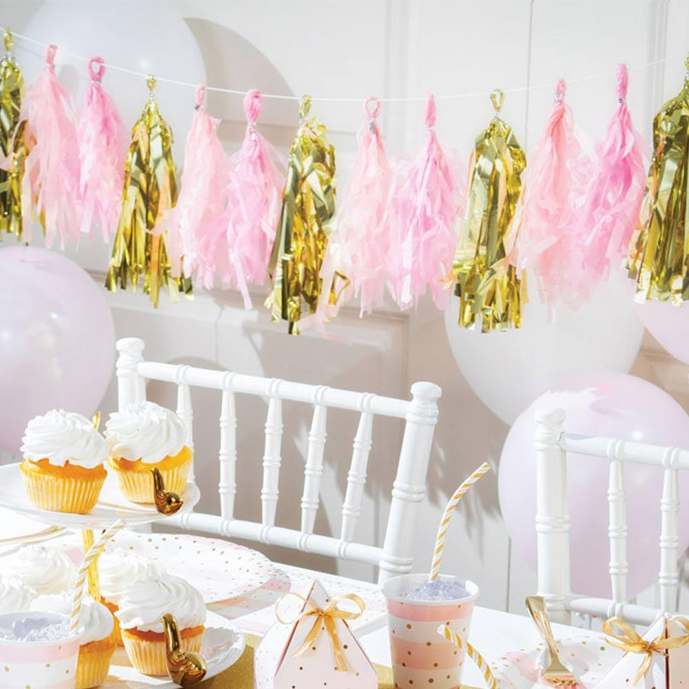 Pink & Gold Celebration Tassel Garland