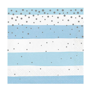 Blue & Silver Celebration Stripes Luncheon Napkins (x16)
