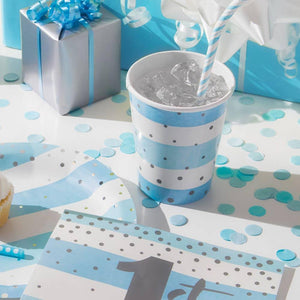 Blue & Silver Celebration Paper Cups (x8)