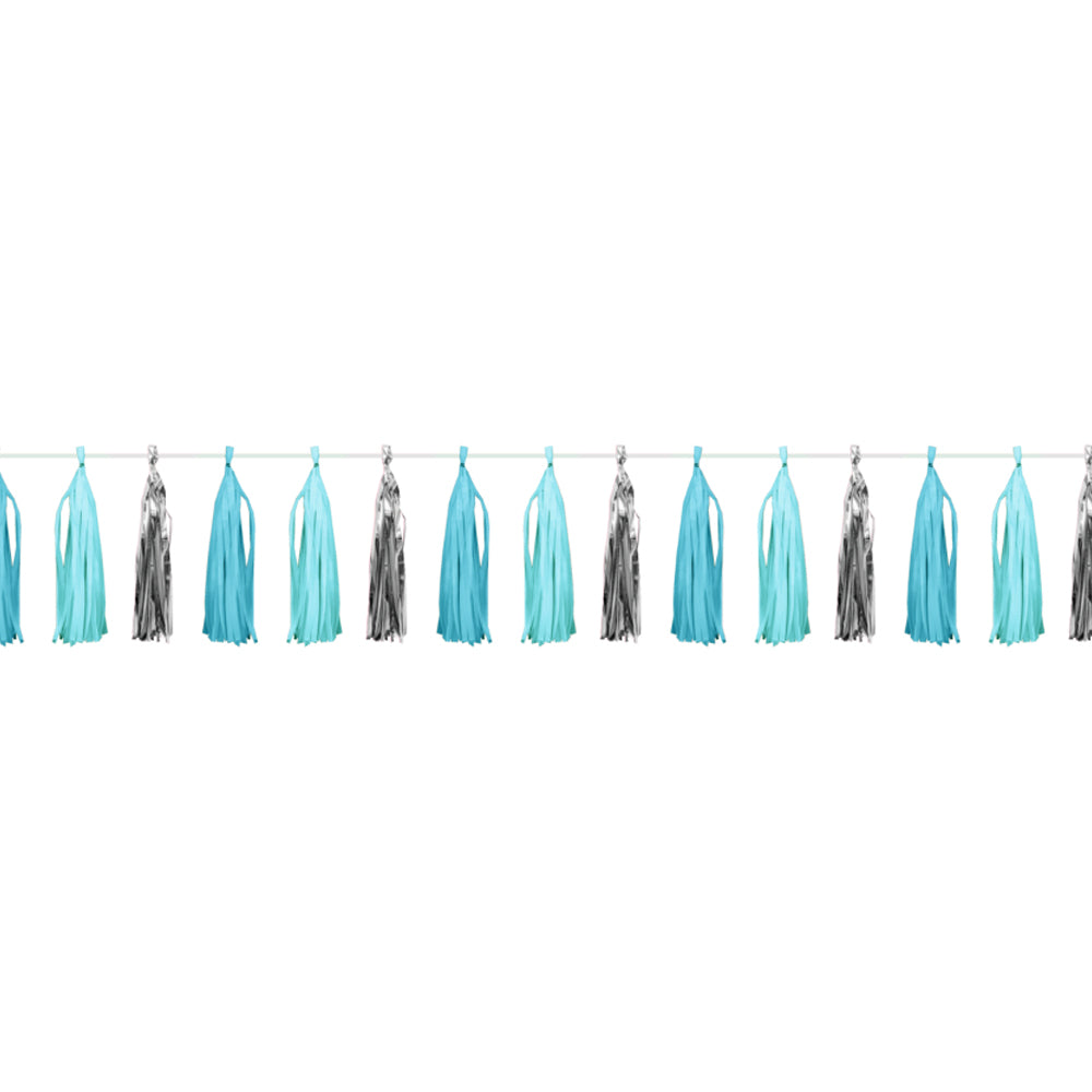 Blue & Silver Celebration Tassel Garland