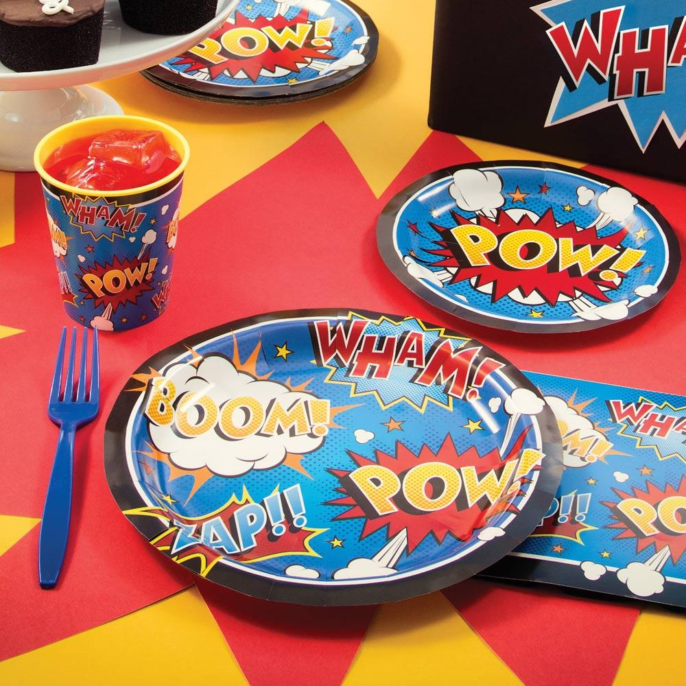 Superhero Slogan Large Plates (x8)