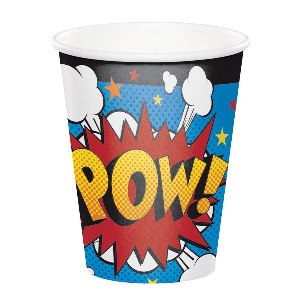 Superhero Slogan Paper Cups (x8)