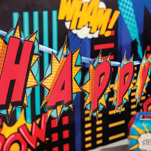 Superhero Slogan Happy Birthday Banner