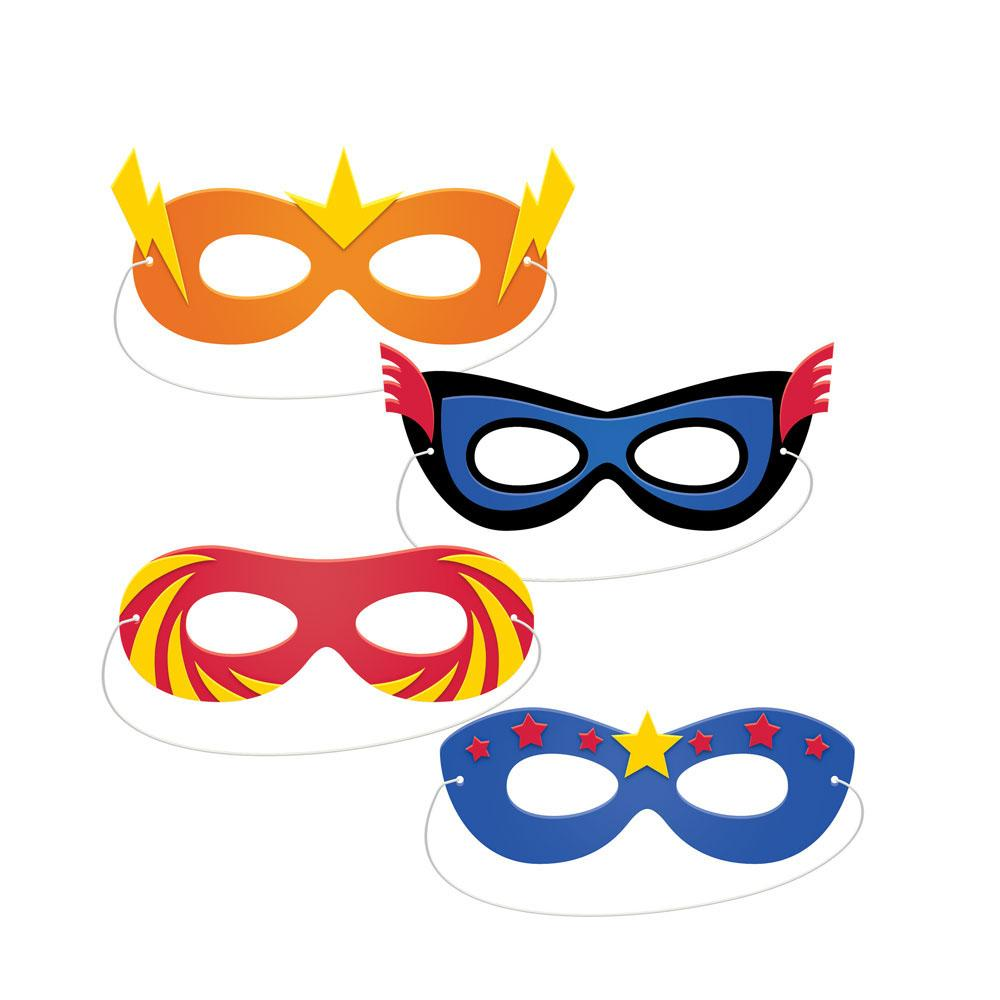 Superhero Slogan Foam Masks (x4)