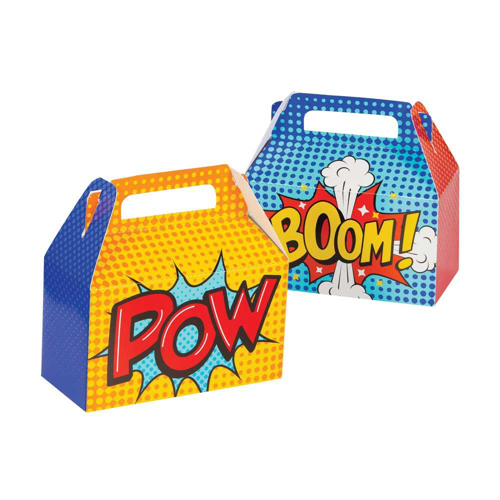 Superhero Slogan Party Boxes (x4)